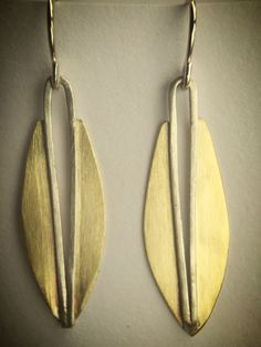 Sterling Silver Posts Hand Carved Tribal Hanging Earrings Naturally Organic Silhouette Brass Tops Mother of Pearl ov