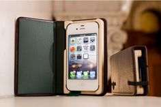 The Little Luxury Book for iPhone 4/4S in Mahogany Brown leather with Forest Green interior