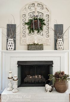 Winter Fireplace Mantel And Hearth #SimpleDecor #UBHOMETEAM