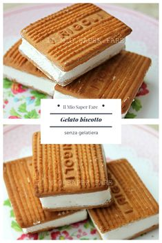 Biscuit ice cream without ice cream maker Creative Desserts, Easy Desserts, Dessert Recipes, Gelato Homemade, Biscotti, Sorbets, Pastry And Bakery, Healthy Cake, Bakery Recipes