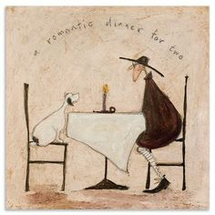 Sam Toft - Romantic Dinner For Two, Box Canvas, 40 x 40 cm