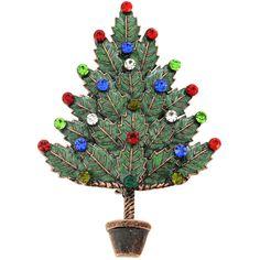 Enamel Multicolor Christmas Tree Pin Brooch