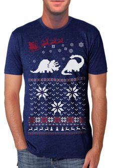 Ugly Christmas sweater t shirt -- Dinosaur Sweater -- mens unisex -- sizes sm med lg xl xxl