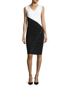 V-Neck+Colorblocked+Punto+Milano+Sheath+Dress,+White/Black+by+Lafayette+148+New+York+at+Neiman+Marcus.