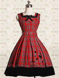 Cotton Red Sash Checked Cloth Classic Lolita Dress