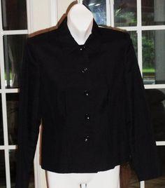 $39.95 OBO Womens Ann Taylor Black Button Down Front Business Blazer Jacket Size: 4