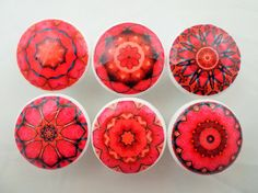 Set of 6 Chakra Mandala Cabinet Knobs