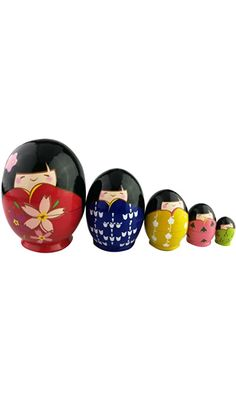 Super Cute Japanese Little Girls Wear Kimono Pattern Egg Shape Handmade Wooden Russian Nesting Doll Matryoshka Doll Kokeshi Set 5 Piece For Kids Toy Birthday Christmas Gift Home Decoration Best Price