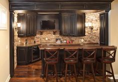 The Basement Bar Is Anchored On One Side By Stacked Stone