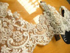 ivory Alencon Lace Trim bridal alencon lace wedding trim