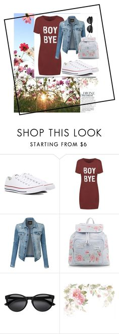 """""""for sunny days 🌹"""" by minahalilcevic ❤ liked on Polyvore featuring Converse, LE3NO and New Look"""