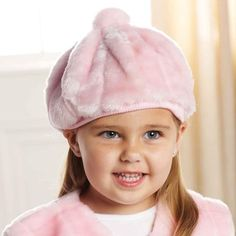 Mud Pie Pink Fur Beret. Pink faux fur beret with matching pompom for little girls. See More Hats at http://www.ourgreatshop.com/Hats-C198.aspx