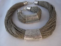 Necklace and bracelet linen engraved metal silver by espurna88
