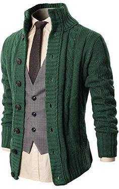 17ee1fcaf509e H2H Mens High Neck Twisted Patterned Thermal Knit Cardigan Sweater GREEN US  L Asia XL