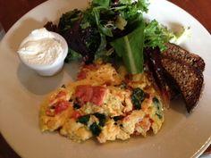 French Meadow Bakery & Cafe, Minneapolis.  Favorite dishes: eggs & smoked salmon, berry cream gluten-free tart