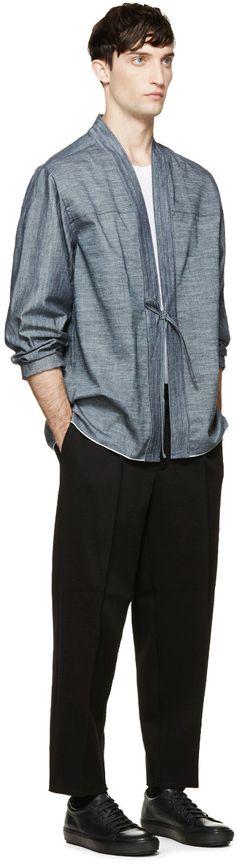Naked & Famous Denim: Indigo Selvedge Kimono Shirt   SSENSE