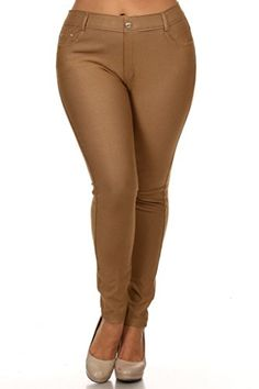 c9f4c2828e8 ICONOFLASH Womens Pull On Plus Size Jeggings Cotton Blend Khaki XL     You  can