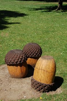 These Giant acorns have been made for Ealing Common, London, from Oak.