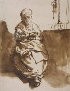 Rembrandt, Saskia sitting by a window	  c.1638-39 Pen and wash in brown ink, brush in white on paper prepared light brown.