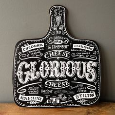THIS is very cute and hand lettered and made in Kent --> cheese board haveagander.com