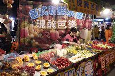 fruit stand at night market, Tainan #Taiwan