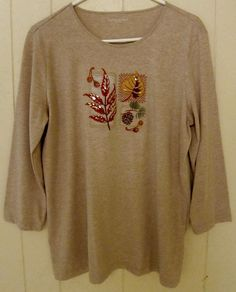 Laura Scott Women's Size L Cotton Long Sleeve Light Brown Fall Embroidered Top #LauraScott #KnitTop