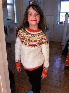 "Ravelry: ""Fimma"" lopapeysa (lopi Icelandic wool Fair Isle sweater) pattern by Sarah Dearne"