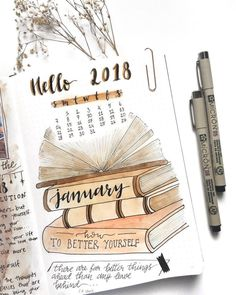 Bullet journal monthly cover page, January cover page, hand lettering, book drawing. Doodle Bullet Journal, Bullet Journal Spreads, January Bullet Journal, Bullet Journal Cover Page, Bullet Journal Notebook, Bullet Journal School, Bullet Journal Ideas Pages, Bullet Journal Layout, Book Journal