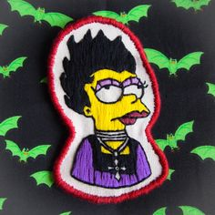 Goth Lisa Simpson Embroidered Sew On Patch by RAD by radboutiqueuk