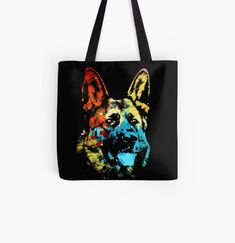 Cool gsd doggo colorful animal print tote bag. Watercolor art work for german shepherd dog lovers. Animal Print Tote Bags, Beagle Art, Dog Artwork, Cat Dad, Cute Pugs, Cat Colors, Baby Owls, German Shepherd Dogs, Watercolor Art