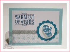 Stampin' Up! Rosa Mädchen Weihnachtskarte mit Make a Mitten und Warmest of Wishes
