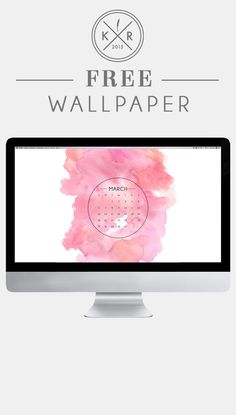 Pink and white watercolor wallpaper desktop for free download March 2016 calendar download on the blog! www.life-after-graduation.com