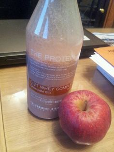 My FAVE breakfast! Chocolate protein shake and an apple.