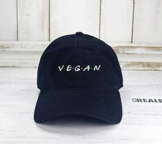 Vegan Friends Logo Dad Hat Embroidered Baseball Cap Curved Bill 100% Cotton  Healthy Life style 748b941fe16b