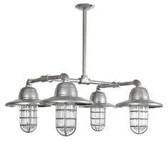 "Industrial 4 Light Chandelier ""The Bottom Line"" Galvanized & Frost Glass"