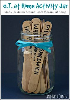 OT at Home Activity Jar - ideas for doing occupational therapy at home from And Next Comes L