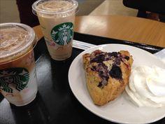 2017.02.24 blueberry scones with whip cream @Starbucks