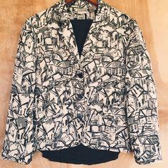 "Chico's Silk Blend Blazer Chico's artsy style blazer.                                          Chest flat 23"", length 23"", Arm 23"" Chico's Jackets & Coats Blazers"
