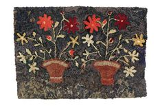 """American, early 20th century. Two pots with red flowers. Mounted on pole. 27"""" by 38""""."""