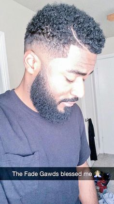 A photograph of a black guy with a curly hipster beard and a low fade haircut – Men's style, accessories, mens fashion trends 2020 Black Men Haircuts, Black Men Hairstyles, Teen Hairstyles, Boy Haircuts, Formal Hairstyles, Hair And Beard Styles, Curly Hair Styles, Natural Hair Styles, Beard Wax