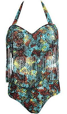 c008118567 Creabygirls #Women Plus Size Print High Waist Two Piece Tassel #Swimsuit  (XXX-