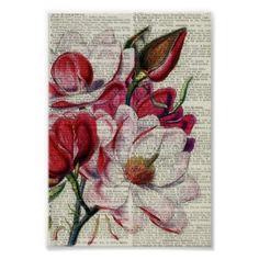 Unique Newpaper Floral Poster - decor diy cyo customize home