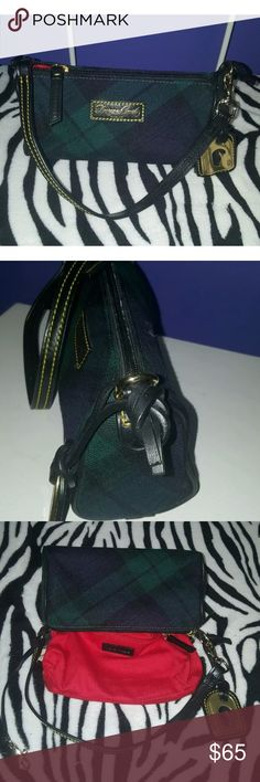 """DOONEY & BOURKE SMALL EVENING BAG CLUTCH Great condition DOONEY & BOURKE small wool/ leather purse. Green/ blue navy/black color, red lining. Size:8/4/3"""" Dooney & Bourke Bags Clutches & Wristlets"""