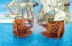 Pirates boarding a Spanish treasure galleon