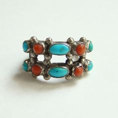 Navajo Style Coral Turquoise Row Ring Size 5.75 Sterling Silver Native American Indian Jewelry by redroselady on Etsy