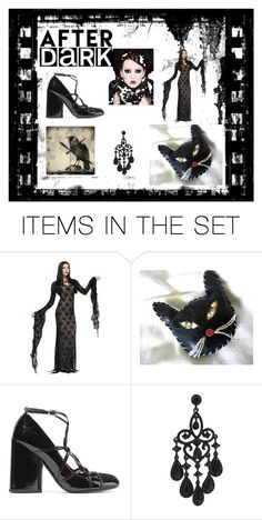 """After Dark"" by jackpotjen on Polyvore featuring art, afterdark, gothicfashion and blackkitty"