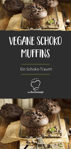 Vegan chocolate Vegane Schoko Muffins A chocolate dream especially for vegans: These chocolate muffins are mega-delicious and come without eggs and milk. Dessert Sans Gluten, Bon Dessert, Vegan Breakfast Recipes, Vegan Recipes, Cooking Recipes, Desserts Végétaliens, Gateaux Vegan, Chocolate Dreams, Cupcakes