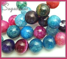 Dragon Vein Agate Gemstone Beads Multi Color 1 Strand 10mm  | Sugabeads - Jewelry Supplies on ArtFire