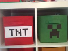 My sister Tammy Guidry made these for her son. She used collapsible storage bins and printed the TNT and Creeper onto printer-sticker paper. Love it❤️