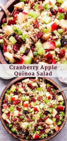 This Cranberry Apple Quinoa Salad is easy to make and perfect to serve as a side dish or for lunch Tons of crunchy texture and pops of sweetness from the apple and dried. Healthy Salad Recipes, Whole Food Recipes, Diet Recipes, Healthy Snacks, Vegan Recipes, Healthy Eating, Cooking Recipes, Cranberry Salad Recipes, Clean Eating Salads